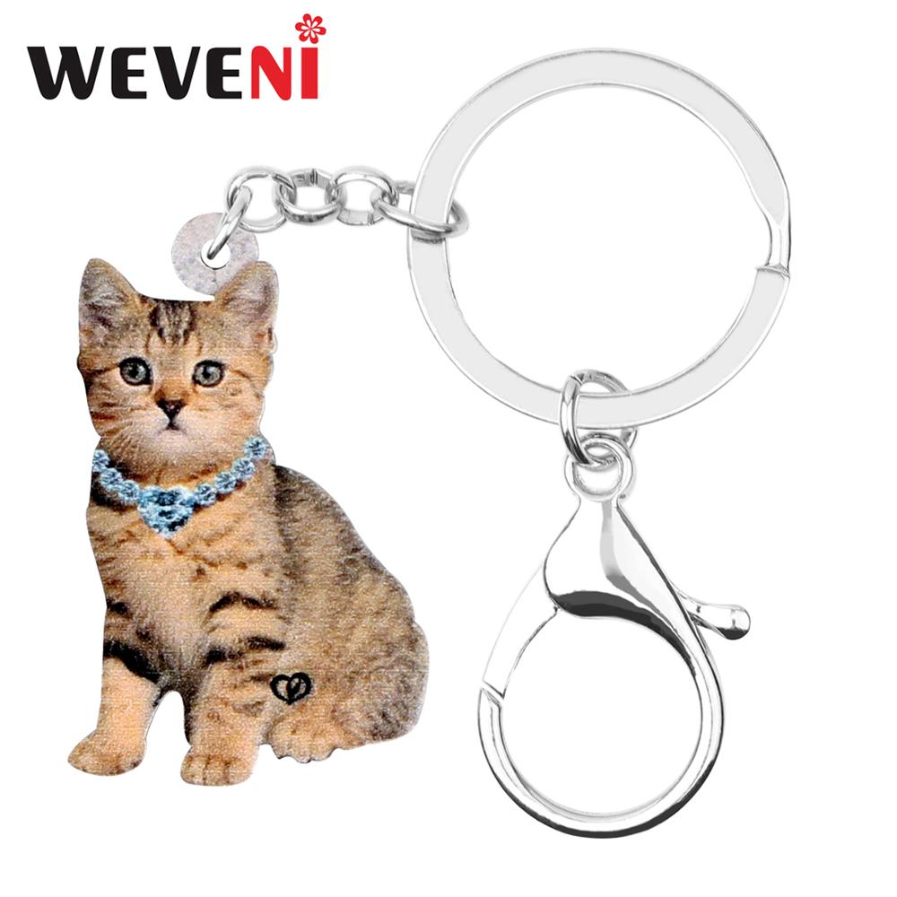 WEVENI Original Acrylic Cute Kitten Cat KeyChain Keyrings Hipster Design Jewelry For Women Girls Bag Car Charms Lots Pendant