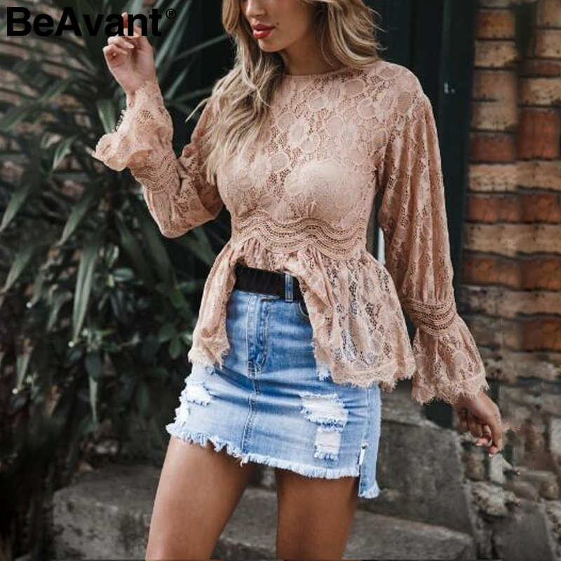 BeAvant O neck flare sleeve lace   blouse   Women sexy perspective mesh summer top blusas Elegant ruffles peplum   blouse     shirts   2018