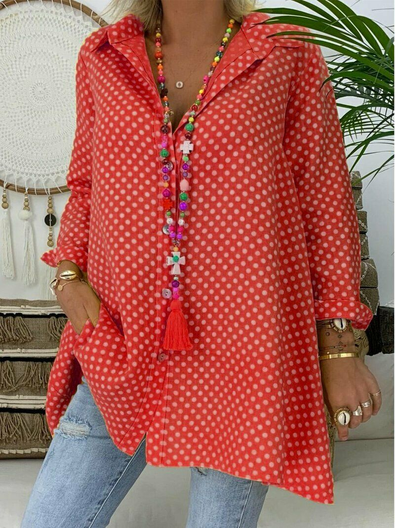 2019 Summer Women's Floral Tops Blouse Ladies Long Sleeve Casual Shirts Plus Size 6-20