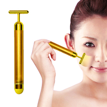 New 24K Gold T Bar Face Lifting V Shap Slimming Face Pulse Massager Stick Rids Skin Tightening Care Tool
