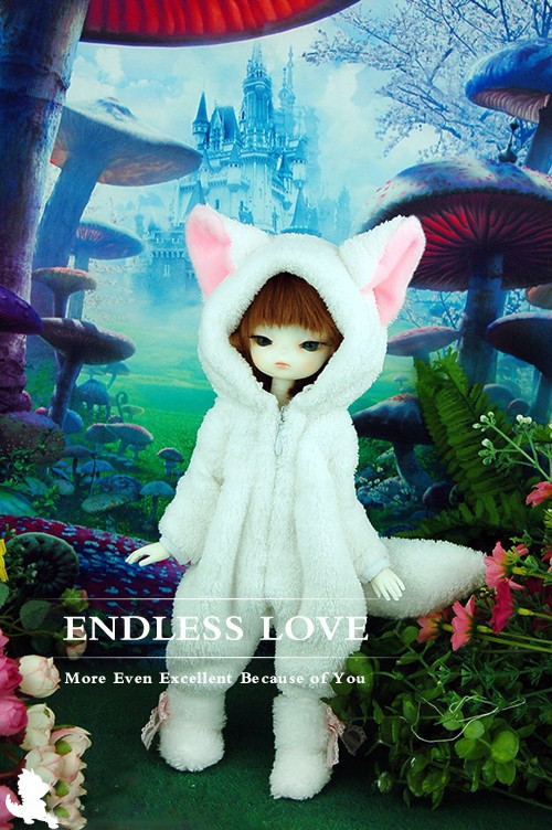 Cute White Fox Pajamas Animal Outfit For BJD 1/6 YOSD BB Super Dollfie Luts AS,DZ Doll Clothes AL14 free match stockings for bjd 1 6 1 4 1 3 sd16 dd sd luts dz as dod doll clothes accessories sk1
