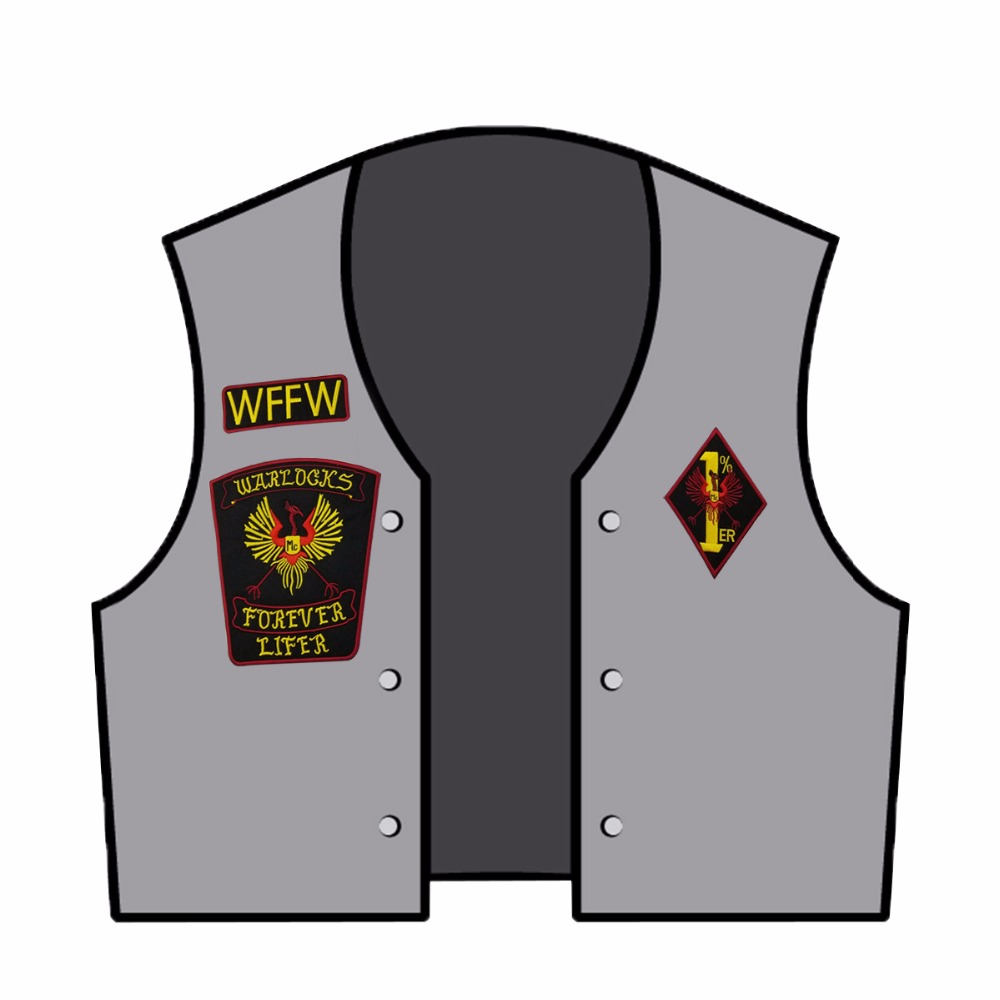 NEW ARRIVAL WARLOCKS Motorcycle Patch 1 Biker Rider Vest MC Embroidered Iron On Back of Jacket Patch DIY G0434 Free Shipping in Patches from Home Garden