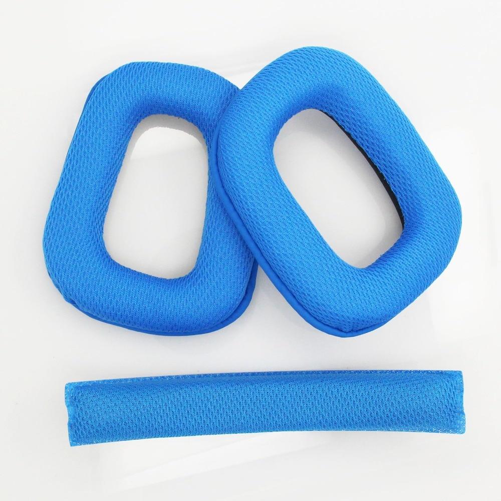 10 Sets Blue Replacement Ear Pads Earpads Headband Cushion Pad for Logitech G930 Headphones