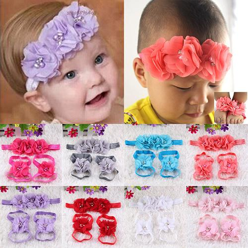 Hot High Recommend Baby Infant Toddler Girl Chiffon Rhinestone Foot Flower Barefoot Sandals Headband Set 5BWU