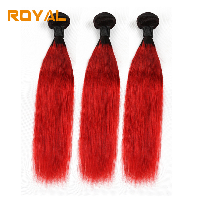 Pre-Colored Brazilian Hair Weave Bundles 1b/Red 3 PCS Lot Human Hair Weft Royal Non Remy Straight Hair Extensions
