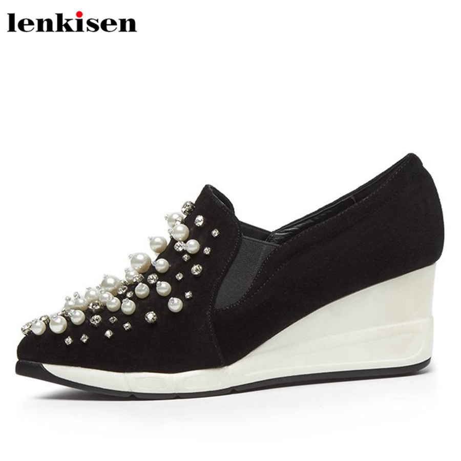 Lenkisen 2018 kid suede round toe lace up platform causal shoes high heels increased pearls crystal women vulcanized shoes L56