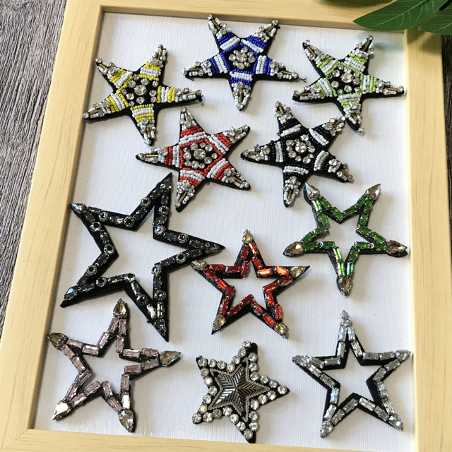 Star Rhinestone Patch Beaded Embroidery Lace Fabric Applique Patches