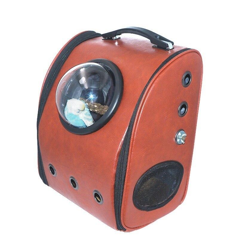 Portable Mini voyage en plein air Transport oiseau sac à dos perroquet Cage transporteurs perroquet sac avec perche en bois accessoires pour animaux de compagnie CW079