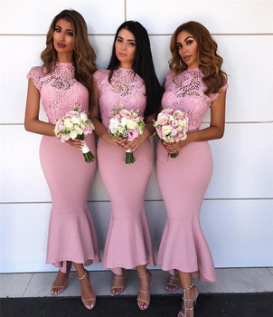 Wonderful Pink Lace Mermaid Bridesmaid Dress 2019 New O Neck Tea Length Short Maid Of Honor Dresses Cheap Wedding Party Gowns