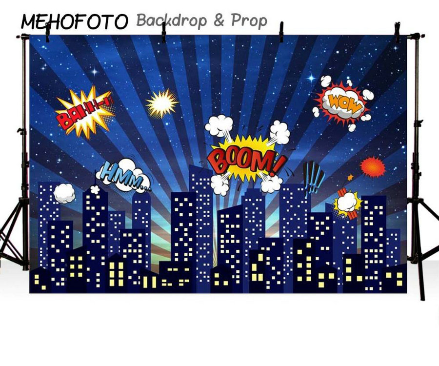 Night City Super City Superhero Skyline photo studio background Vinyl cloth High quality Computer print party backdrops