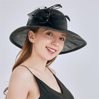Ladies Fascinators Hat with Flower Sinamay Wedding Hats for Party Vintage Linen Bridal Cap Women Hats for Church sombreros mujer