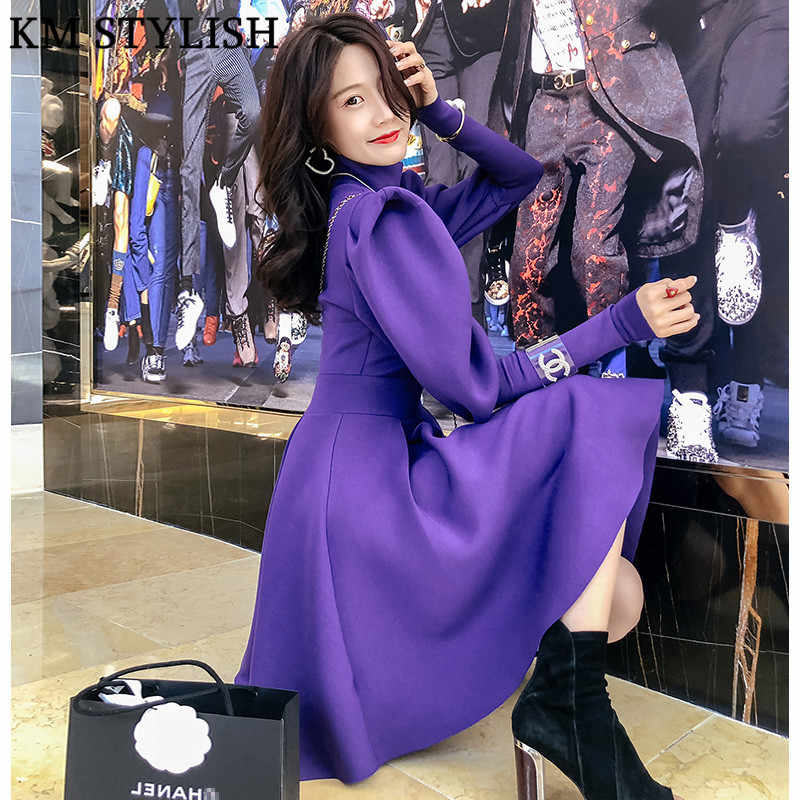 ee76dbf9c6 ... Autumn and Winter Clothing 2018 New Women's Dress Korean Puff Sleeve  High Neck Long-sleeved
