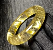 Top Quality Natural Gold Rutilated Titanium Bangle Woman Lady Wealthy Quartz Crystal Inner Diameter 58mm AAAAA