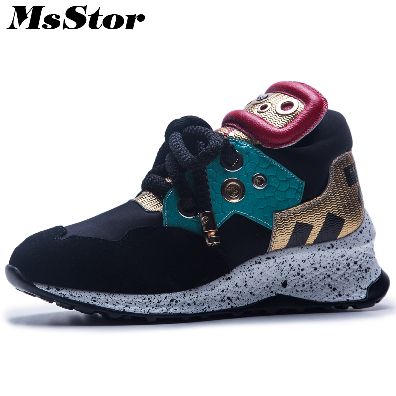 MsStor Pointed Toe Cross tied Women Flats Casual Fashion Ladies Flat Shoes 2018 Metal Decoration Sneakers Women Flat Brand Shoes sweet women high quality bowtie pointed toe flock flat shoes women casual summer ladies slip on casual zapatos mujer bt123