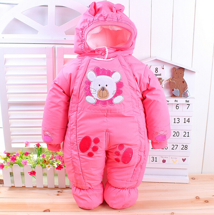 c6f488726523 Baby Winter Romper Cotton Padded Thick Newborn Baby Girl Warm Hooded ...