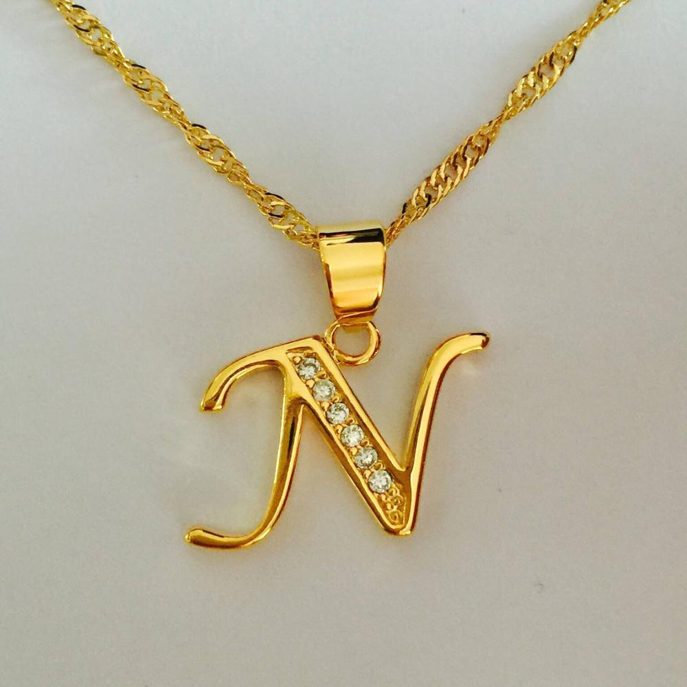Us 3 5 Luxury Brand Letter N Gold Color Necklace Women Men Name Charm Pendant Necklace Crystal Fashion Alphabet Letter Necklace In Pendants From