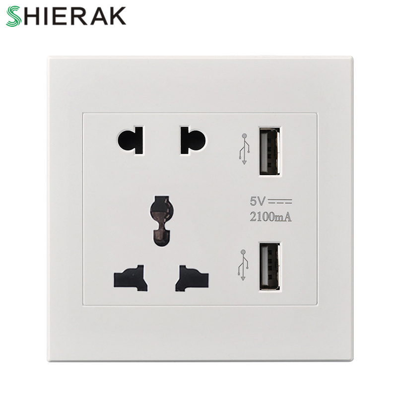 SHIERAK Universal 2100mA 5V 2 USB Wall Socket 110-250V Home Wall Charger 2 Ports USB Outlet Power Charger For Phone стоимость