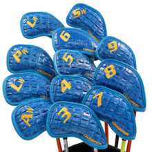 NEW Champkey 12PCS New Thick Snake PU Artificial Leather Blue Color Golf Iron Head Cover Headcover