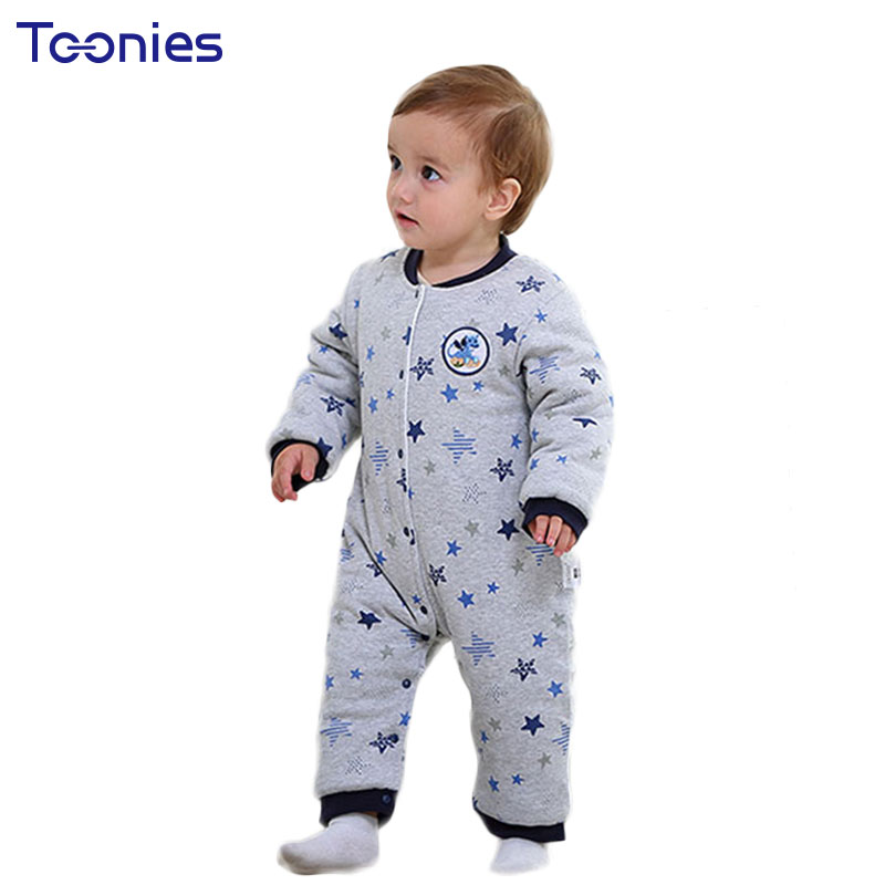 Climbed Clothes for Baby 2018 Winter Newborn Rompers Thick Warm Infant Pajama Cute Cartoon Striped Toddler Jumpsuits Kid Costume cotton baby rompers set newborn clothes baby clothing boys girls cartoon jumpsuits long sleeve overalls coveralls autumn winter