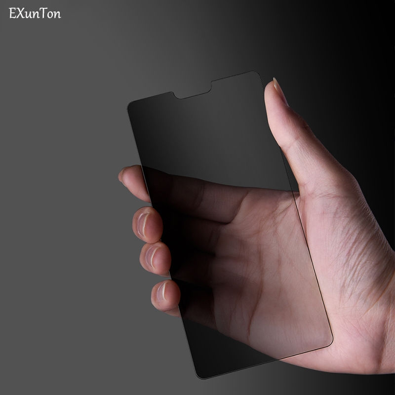 EXUNTON for V15 Pro Y81 Y83 2.5D Privacy Anti Spy Tempered Glass Screen Protector for V15Pro Y81 Black Front Protective Film