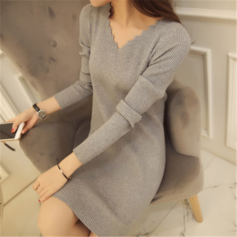 Women Sexy Sweater Dress Autumn Winter Fashion V Neck Bodycon Basic Mini Solid Color Knitted Dress Pullover Maxi Dress ZY2781 4