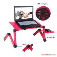 Aluminum Laptop Stand Portable Ergonomic Adjustable Folding Notebook PC Desk with Heat dissipation Fan For Laptop Bed Table