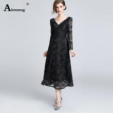 fashion Mesh lace black women dresses 2019 new autumn vintage hollow out embroidery a-line female the dress elegant vestidos