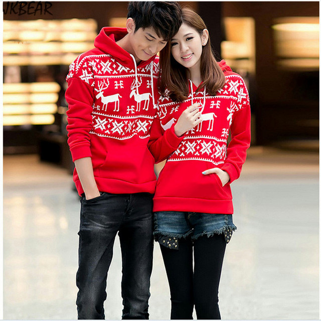 Moose Reindeer Patterned Matching Christmas Outfits for Couples Plus Size  Snowflake Print Hoodies S-XXXL - Moose Reindeer Patterned Matching Christmas Outfits For Couples Plus