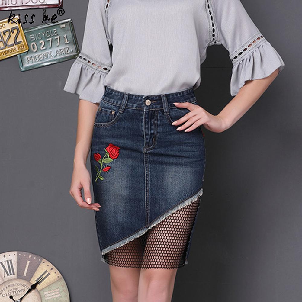 Для женщин джинсовая мини-юбка сезон: весна–лето вышивать Цветочные Мини Джинсы для женщин юбка пикантные Кружево патч облегающая юбка офи...