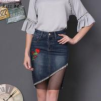 Women Mini Denim Skirt Spring Summer Embroider Floral Mini Jeans Skirt Sexy Lace Patch Bodycon Skirt