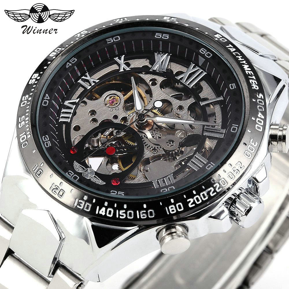 WINNER Mechanical Watches For Men Silver Skeleton Dial Stainless Steel Strap Top Brand Luxury Military Automatic Wrist Watch mce automatic watches luxury brand mens stainless steel self wind skeleton mechanical watch fashion casual wrist watches for men