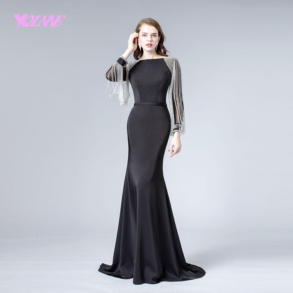 Elegant Black Full Sleeve Beading Evening Dress Crystals Formal Evening Gown Mermaid Dresses 2019 YQLNNE
