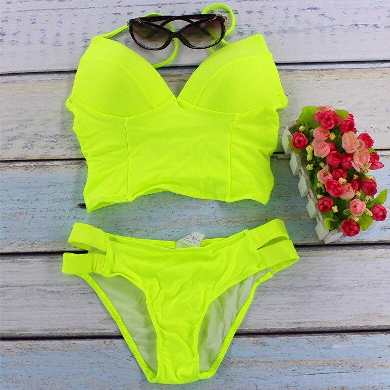 2017 новые купальник бикини женщин сексуальный купальник Слинг Холтер Бразильский пляжные бикини Набор Push upswimwear купальный костюм