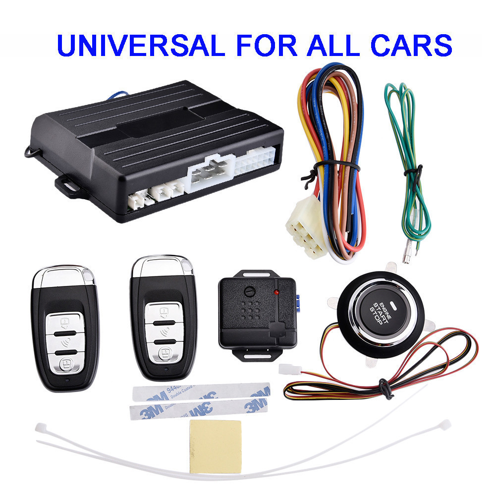 Universal Car PKE Security Alarm System With Sensor 12V Remote Engine Start Long Push Start Password Smart Key button smart haa flip key pke car alarm system push start remote start stop engine auto central door lock with shock sensor