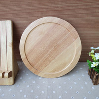 Vintage Style Round Wooden Fruits Tray Eco Solid Wood Tea/Coffee Serving Trays Home Use Cake/Bread Plate Dish Kitchen Tool