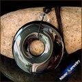 Atacado Circular Donuts da Mulher dos homens de Ágata Preta pedra Natural contas de Colar de Pingente Frete grátis