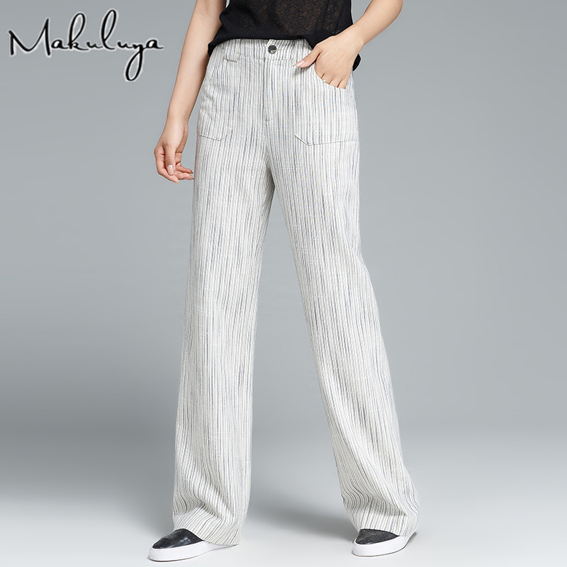 Makuluya Female Casual   Wide     Leg   Stripes   Pants   High Quality Thin White Cotton Linen Ladies Women Spring Summer Autumn QW