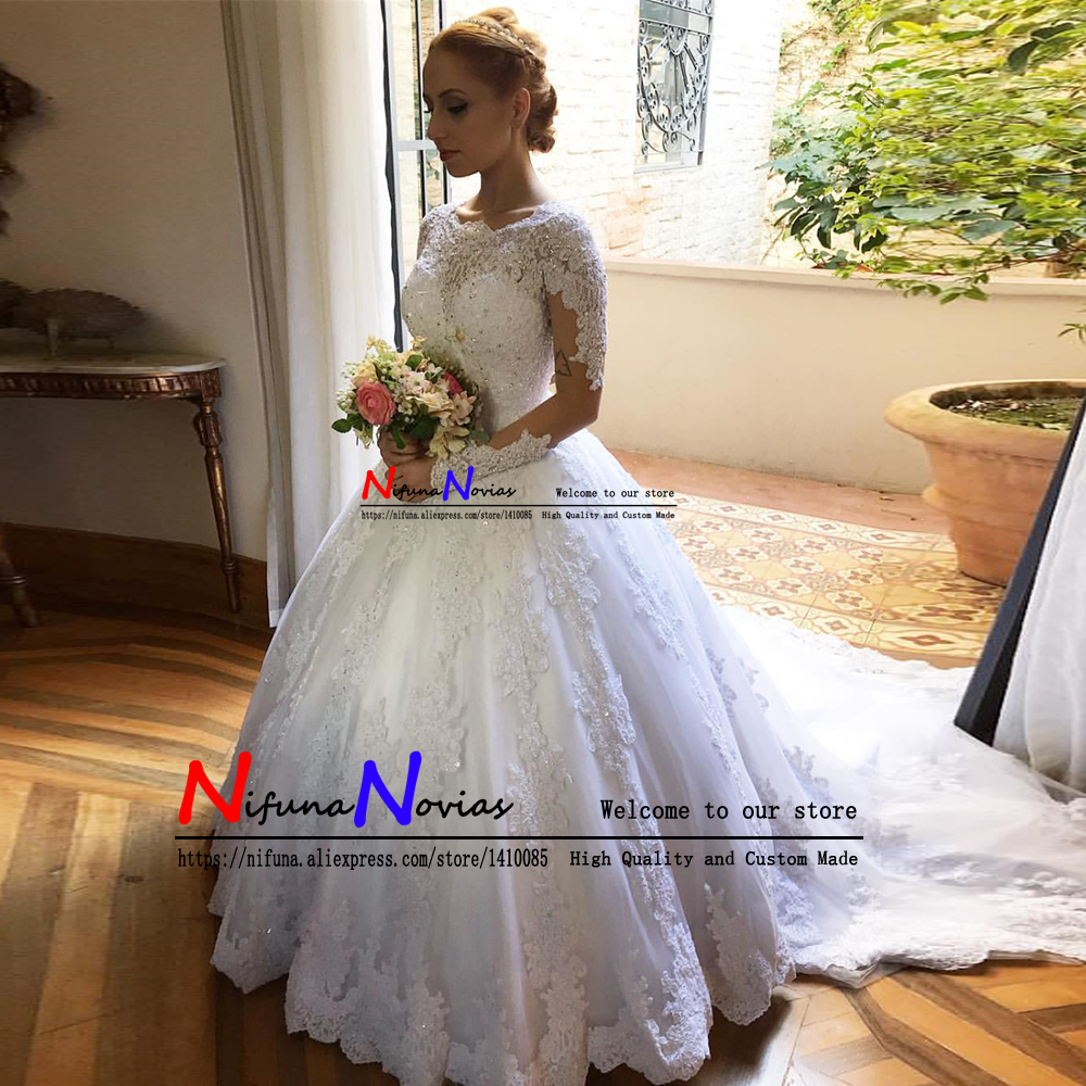 Robe De Mariee Ball Gown Wedding Dress With Long Sleeves Court Train Lace Beaded Vintage Wedding Dresses 2019 Vestidos de Noiva