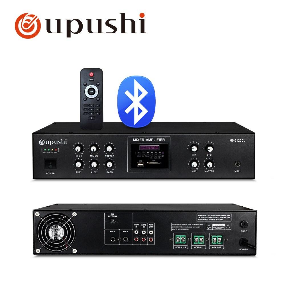 120w Bluetooth pa verstärker 2 zone audio amp unterstützung fernbedienung, USB, sd-karte, FM für öffentlichen adresse system