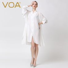 VOA Summer Fashion Loose White Silk Shirt Women Spring Plus Size 5XL Long Sleeve Sexy Solid Casual Office Blouse B5352
