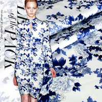 108cm Wide 19momme Heavy Elastic Satin Fabric Natural Blue And White Print Cloth For Cheongsam Dress