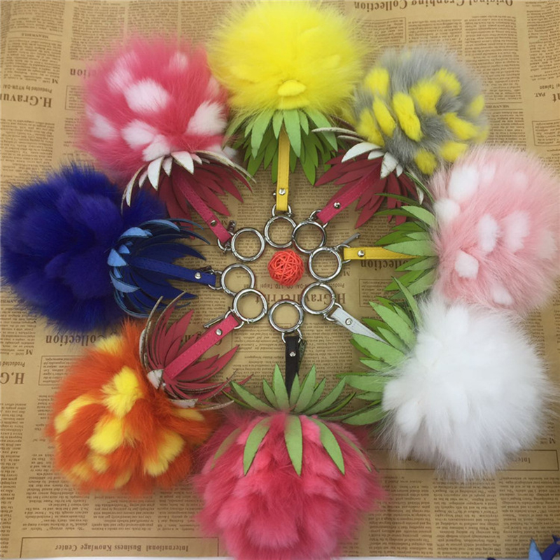 15cm Fluffy Real Rabbit Fox Fur Ball Keychain Pineapple Fur Pom Pom Key Chain Llavero Pompon Keyring Women Bag Charm Pendant цены онлайн