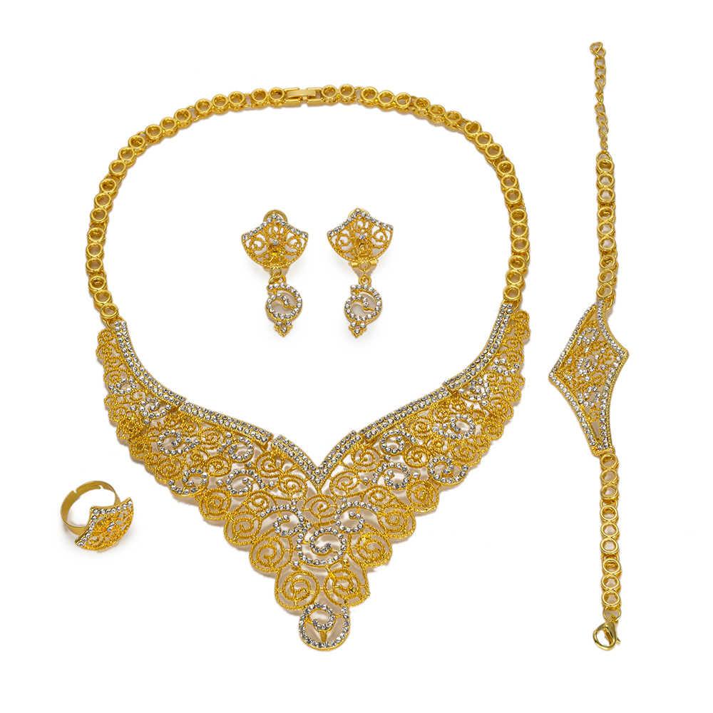 MUKUN, regalo nupcial, abalorios africanos de boda nigeriana, conjunto de joyería para mujer, conjuntos de joyas de cristal de imitación, joyas de Etiopía y Dubai