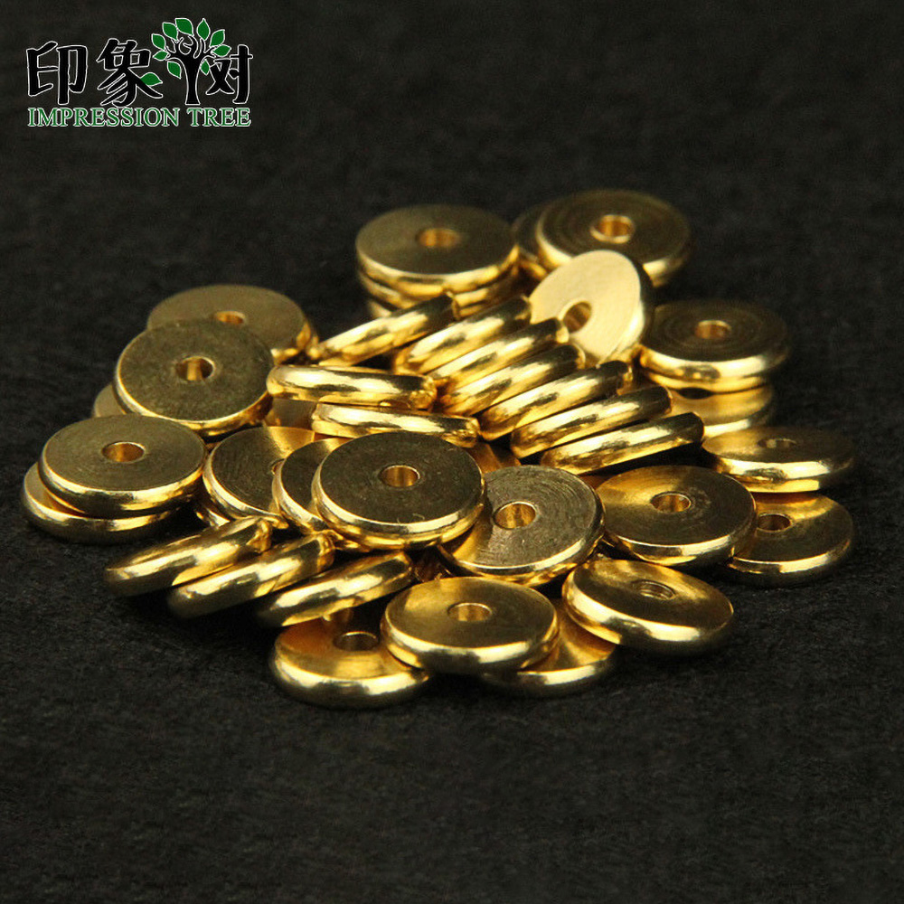 50pcs 4/5/6/7/8/10mm Gold Plating Copper Flat Round Spacer For DIY Jewelry Making Bracelet
