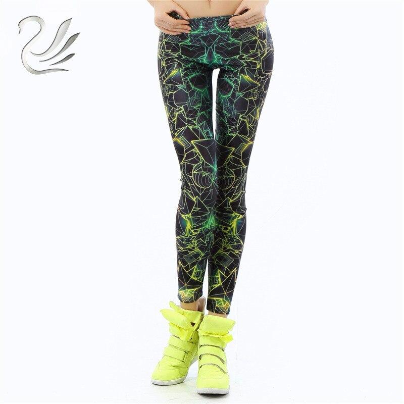 Wholelsales New Fashion Women Leggings  3D Printed Color Legins Ray Fluorescence Leggins Pant Legging For Woman
