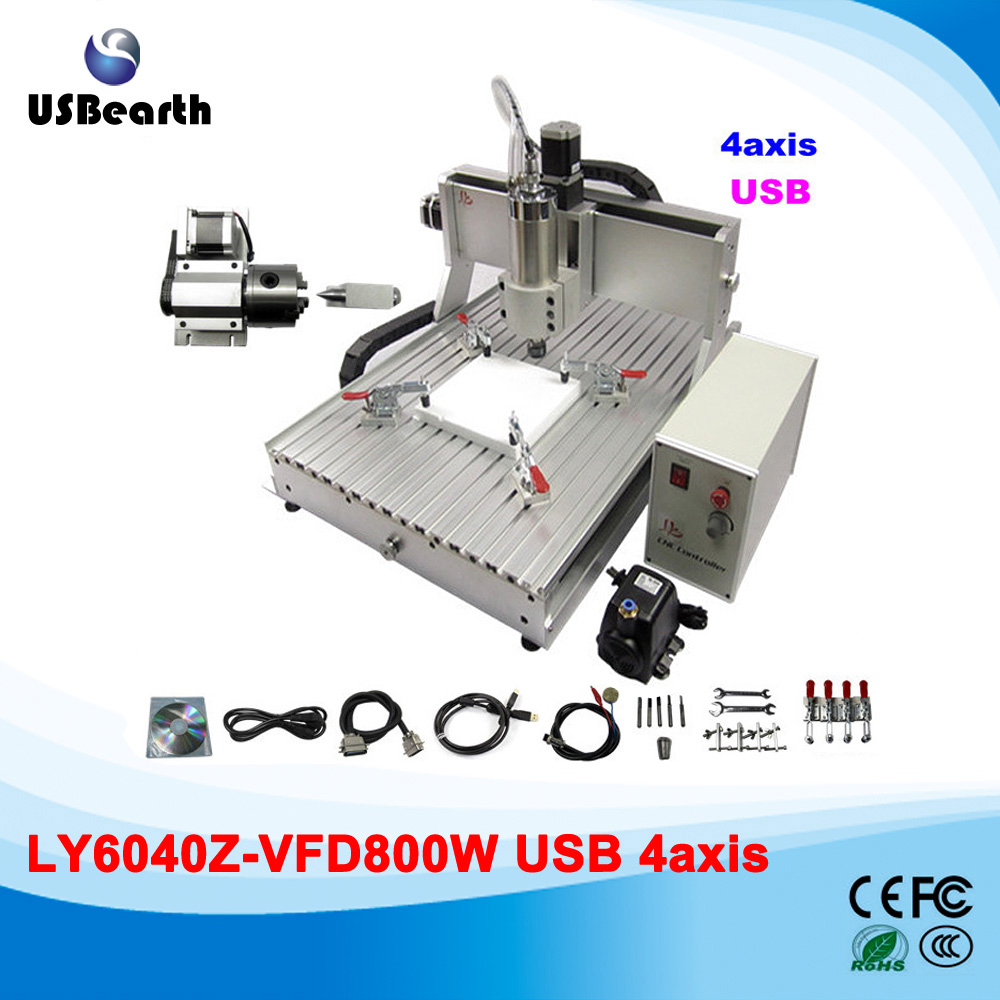 цены  3D cnc router cnc 6040 engraving machinery 800w spindle engraver with rotary axis and USB interface