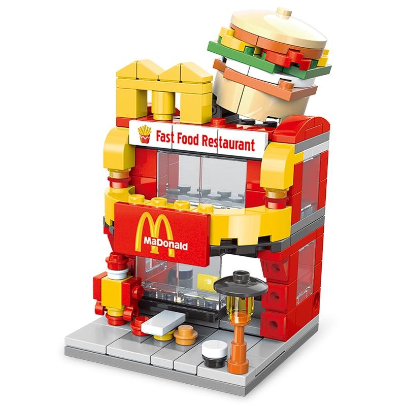 Compatible legoed Architecture retail shop city mini store shopping mall street town model sets building blocks bricks kids toys 1