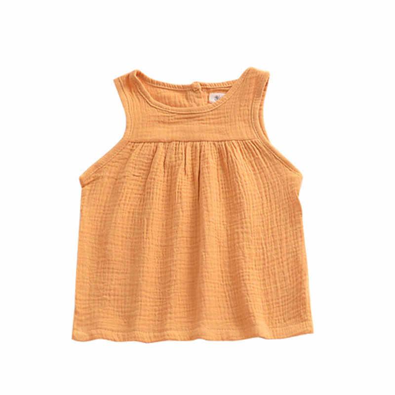女の赤ちゃんの夏 Tシャツトップスパンツリネンコットンリネンキッズ服子供服新生児快適な幼児服 1-4Y