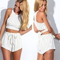 Women Ladies Sleeveless Summer Chiffon Striped Shorts Jumpsuits Clubwear With Belt 2PCS Shorts Sets Casual Macacao Feminino 36