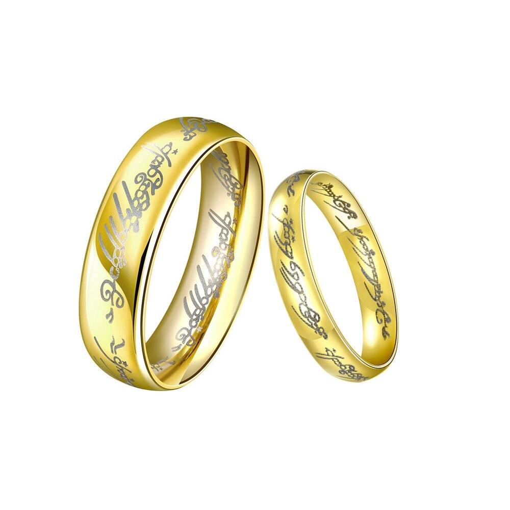Vintage Pair Of Rings For Wedding Stainless Steel Gold Bijou De Couple Engagement Ring Aliancas De Casamento Em Ouro Par R2245-5